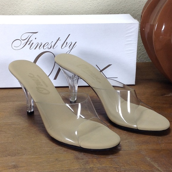 1b0884f94 NWT Onex Clear Acrylic Open Toe High Heeles Mules